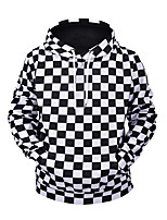 cheap -Men's Street chic / Exaggerated Hoodie - 3D / Check, Print