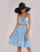 cheap -Women's Basic Set - Solid Colored / Striped Skirt