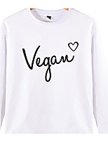cheap -Men's / Women's Long Sleeve Loose Sweatshirt - Solid Colored / Letter Round Neck