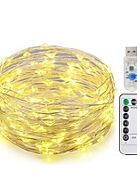 cheap -KWB 10m String Lights 100 LEDs SMD 0603 1 13Keys Remote Controller Warm White / White / Blue New Design / USB / Decorative USB Powered 1set