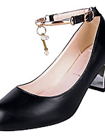 cheap -Women's Shoes PU(Polyurethane) Summer Ankle Strap Heels Chunky Heel Round Toe Black / Beige / Party & Evening