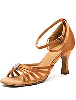 """Недорогие -Жен. Обувь для латины Сатин Кроссовки Каблук """"Клеш"""" Танцевальная обувь Черный / Верблюжий / Миндальный"""