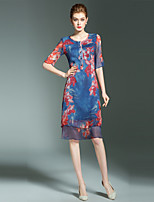 cheap -SHIHUATANG Women's Vintage / Street chic A Line Dress - Floral Print