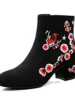 cheap -Women's Shoes Suede Winter Comfort Boots Chunky Heel Black