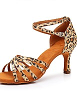 cheap -Women's Latin Shoes Satin Heel Leopard Slim High Heel Customizable Dance Shoes Leopard