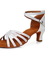 cheap -Women's Latin Shoes Satin Heel Cuban Heel Customizable Dance Shoes White