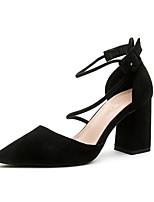baratos -Mulheres Sapatos Camurça Primavera Conforto Saltos Salto Robusto Preto / Cinzento