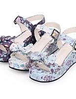 cheap -Lolita Shoes Sweet Lolita Dress Princess Lolita Wedge Heel Shoes Pattern 5 cm CM White / Purple For PU(Polyurethane)