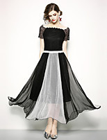 cheap -SHIHUATANG Women's Street chic / Sophisticated Chiffon / Swing Dress - Color Block Lace / Patchwork