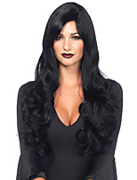 cheap -Synthetic Wig Wavy Middle Part Synthetic Hair 24 inch Middle Part / For Black Women Black Wig Women's Long Capless Black
