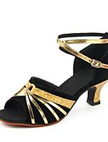 preiswerte -Damen Schuhe für den lateinamerikanischen Tanz Kunststoff Sandalen Kubanischer Absatz Maßfertigung Tanzschuhe Schwarz und Gold / Schwarz und Silbern / Schwarz / Rot