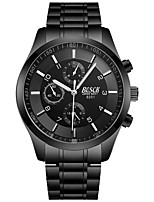 cheap -BOSCK Men's Wrist Watch Quartz 30 m Water Resistant / Water Proof Calendar / date / day New Design Stainless Steel Band Analog Luxury Fashion Black - White Black Red / Noctilucent