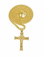 cheap -Men's Stylish / Sculpture Pendant Necklace / Long Necklace - Stainless Cross Artistic, Vintage, Hip-Hop Gold 70 cm Necklace 1pc For Christmas, Street