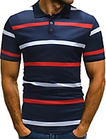 cheap -Men's Business / Street chic Polo - Striped / Color Block Print