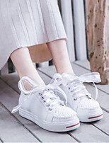 cheap -Women's Shoes Nappa Leather Spring / Summer Comfort Sneakers Flat Heel Round Toe White / Black