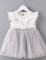 Недорогие -малыш Девочки Контрастных цветов С короткими рукавами Платье
