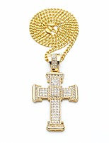 cheap -Men's Cubic Zirconia Stylish / Cuban Link Pendant Necklace / Chain Necklace - Cross, Faith Stylish, European, Hip-Hop Gold, Silver 70 cm Necklace 1pc For Street, Festival