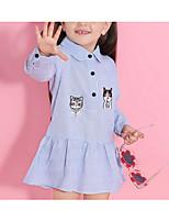 abordables -Niños Chica Gato Un Color / Animal Manga Larga Vestido