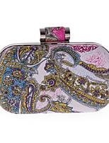 cheap -Women's Bags Polyester / PU(Polyurethane) Evening Bag Buttons / Pattern / Print Blue / Fuchsia