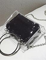preiswerte -Damen Taschen PU Umhängetasche Reißverschluss Schwarz / Rosa / Silber