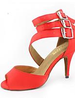 Недорогие -Жен. Обувь для латины Полиуретан На каблуках Тонкий высокий каблук Танцевальная обувь Красный / Кожа / Тренировочные