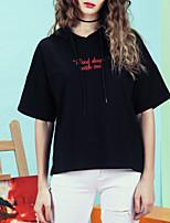 Недорогие -женский короткий рукав с капюшоном - сплошной цвет с капюшоном