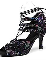 baratos -Mulheres Sapatos de Dança Latina Pele Têni Salto Alto Magro Sapatos de Dança Preto
