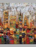 abordables -Pintura al óleo pintada a colgar Pintada a mano - Abstracto / Arquitectura Modern Lona