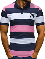 cheap -Men's Business / Basic Polo - Striped / Color Block Patchwork / Print