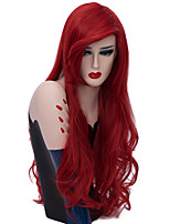 cheap -Wig Accessories / Synthetic Wig Curly Burgundy Middle Part Synthetic Hair Fashionable Design / Party Burgundy Wig Women's Long Capless