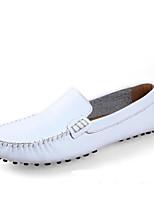 abordables -Hombre Cuero de Napa Verano Confort Zapatos de taco bajo y Slip-On Negro / Marrón / Marrón Claro