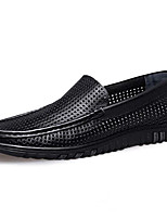cheap -Men's Moccasin Nappa Leather Summer Loafers & Slip-Ons Black / Brown