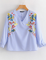 cheap -Women's Basic Cotton Blouse - Floral Embroidered V Neck