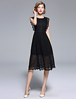 cheap -SHIHUATANG Women's Vintage / Sophisticated A Line / Little Black Dress - Solid Colored Lace