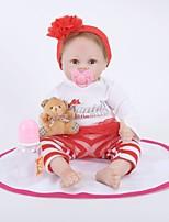 Недорогие -FeelWind Куклы реборн Девочки 22 дюймовый как живой, Ручные прикладные ресницы, Гофрированные и запечатанные ногти Детские Девочки Подарок / Искусственная имплантация Коричневые глаза