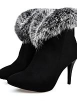 Недорогие -Жен. Обувь Замша Наступила зима Удобная обувь Обувь на каблуках На шпильке Черный / Красный