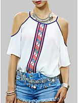 Недорогие -Жен. С принтом Блуза Однотонный / Геометрический принт / Контрастных цветов