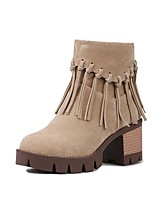 cheap -Women's Shoes PU(Polyurethane) Spring & Summer Comfort Boots Chunky Heel Black / Beige / Yellow