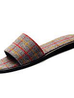 Недорогие -Жен. Обувь Полиуретан Лето Удобная обувь Тапочки и Шлепанцы На плоской подошве Круглый носок Бежевый / Коричневый