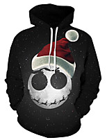 cheap -Men's Basic / Exaggerated Hoodie - 3D / Skull, Print