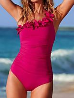 abordables -Mujer Traje de baño Secado rápido Poliéster / Nailon Sin Mangas Bañadores Ropa de playa Body Un Color Natación
