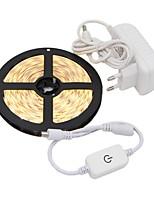 baratos -5m Faixas de Luzes LED Flexíveis 300 LEDs 2835 SMD 1 x adaptador de energia 2A / 1 x interruptor de dimmer Branco Quente / Branco Decorativa / Auto-Adesivo 12 V 1conjunto