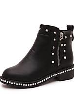 Недорогие -Жен. Обувь Полиуретан Зима Армейские ботинки / Меховая подкладка Ботинки Блочная пятка Круглый носок Ботинки Черный / Серый
