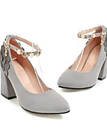 cheap -Women's Shoes Synthetics Spring & Summer Ankle Strap Heels Chunky Heel Pointed Toe Black / Gray / Pink / Party & Evening
