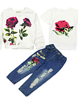 cheap -Kids Girls' Floral Short Sleeve / Long Sleeve Clothing Set