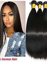 cheap -3 Bundles Peruvian Hair Straight Human Hair Natural Color Hair Weaves / Extension 8-28 inch Human Hair Weaves Machine Made Sexy Lady / Best Quality / Hot Sale Natural Human Hair Extensions Women's