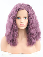 cheap -Synthetic Lace Front Wig Curly Bob Haircut Synthetic Hair Adjustable / Heat Resistant Purple Wig Women's Short Lace Front / Yes
