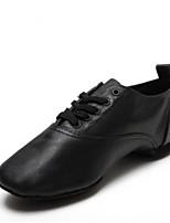 cheap -Men's Latin Shoes Cowhide Sneaker Flat Heel Dance Shoes White / Black