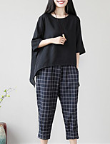 cheap -Women's Basic Puff Sleeve Set - Solid Colored / Geometric, Pleated Pant