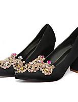 Недорогие -Жен. Обувь Сатин Весна Удобная обувь Обувь на каблуках Блочная пятка Черный / Красный / Темно-красный / Свадьба